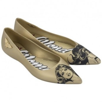 GLAM + WONDER WOMAN black and gold fantasy print flat closed ballet flats for woman