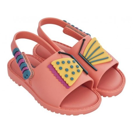 MIA + FABULA pink flat open sandals for baby