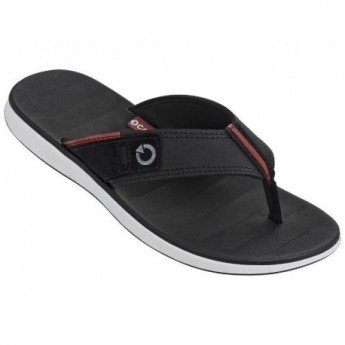 MALAGA black and red flat finger flip flops for man