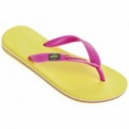 CLAS BRASIL II pink and yellow flat finger flip flops for child