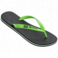 CLAS BRASIL II black and green flat finger flip flops for man