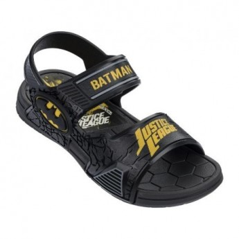 LIGA DA JUSTICA DEFENSE black flat roman sandals for child