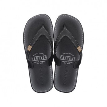 DAKAR black and grey flat finger flip flops for man