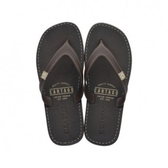 DAKAR beige and brown flat finger flip flops for man